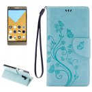 For Honor 7 Butterflies Baby Blue Leather Case with Holder, Card Slots & Wallet