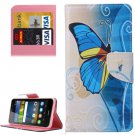 For Y6 Pro Butterfly Pattern Leather Case with Holder, Card Slots & Wallet