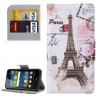 For Y6 Pro Eiffel Pattern Leather Case with Holder, Card Slots & Wallet