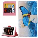 For Huawei Y5 II Butterfly Pattern Leather Case with Holder, Card Slots & Wallet