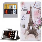 For Huawei Y5 II Eiffel Pattern Leather Case with Holder, Card Slots & Wallet