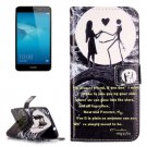 For Honor 5C Couple Pattern Leather Case with Holder, Card Slots & Wallet