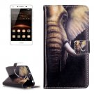 For Huawei Y5 II Elephant Pattern Leather Case with Holder, Card Slots & Wallet