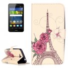 For Huawei Y6 Pro Rose Pattern Leather Case with Holder, Card Slots & Wallet