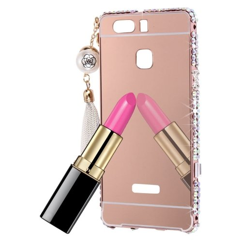 For Huawei P9 Rose Gold Diamond Electroplating Mirror PC Protective Cover Case