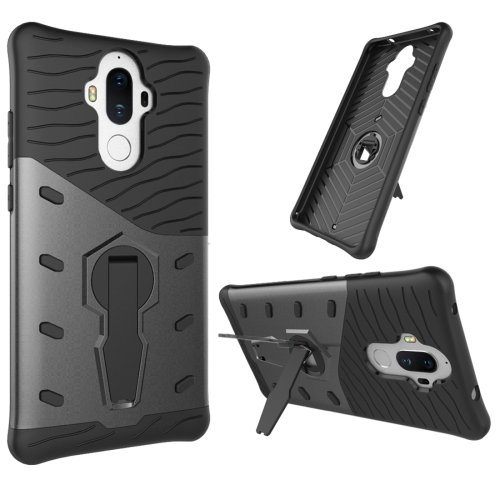 For Huawei Mate 9 Black Rotating TPU + PC Combination Case with Holder