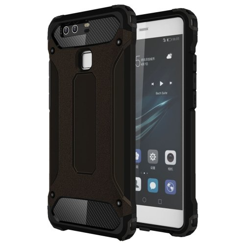 For Huawei P9 Black Tough Armor TPU + PC Combination Case