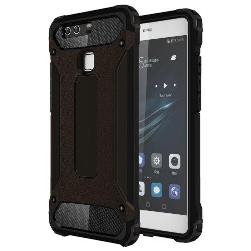 For Huawei P9 Black Tough Armor TPU + PC Combination Case