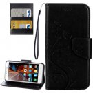 For Vibe K5 Black Butterfly Leather Case with Holder, Card Slots & Wallet