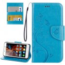 For Vibe K5 Blue Butterfly Leather Case with Holder, Card Slots & Wallet