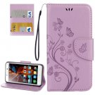 For Vibe K5 Light Purple Butterfly Leather Case with Holder, Card Slots & Wallet