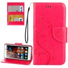 For Vibe K5 Magenta Butterfly Leather Case with Holder, Card Slots & Wallet
