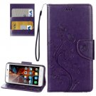 For Vibe K5 Purple Butterfly Leather Case with Holder, Card Slots & Wallet