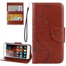 For Vibe K5 Brown Butterfly Leather Case with Holder, Card Slots & Wallet