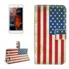 For Lemon 3 US Flag Pattern Leather Case with Holder, Card Slots & Wallet