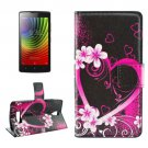 For Lenovo A2010 Peach Pattern Leather Case with Holder, Card Slots & Wallet