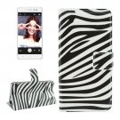For Lenovo S90 Zebra Pattern Leather Case with Holder, Card Slots & Wallet