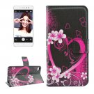 For Lenovo S90 Peach Pattern Leather Case with Holder, Card Slots & Wallet
