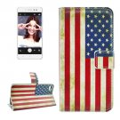 For Lenovo S90 US Flag Pattern Leather Case with Holder, Card Slots & Wallet