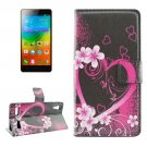 For Lenovo K3 Heart Pattern Leather Case with Holder, Card Slots & Wallet