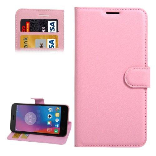 For Lenovo K6 Pink Litchi Leather Case with Holder, Card Slots & Wallet