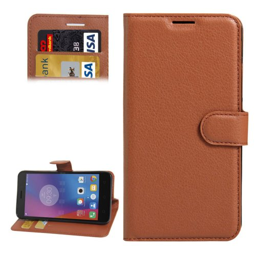 For Lenovo K6 Brown Litchi Leather Case with Holder, Card Slots & Wallet