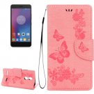 For Lenovo K6 Pink Butterflies Leather Case with Holder, Card Slots & Wallet