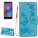 For Lenovo K6 Blue Butterflies Leather Case with Holder, Card Slots & Wallet