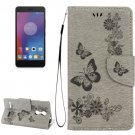 For Lenovo K6 Grey Butterflies Leather Case with Holder, Card Slots & Wallet