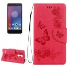 For Lenovo K6 Red Butterflies Leather Case with Holder, Card Slots & Wallet