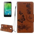 For Vibe C2 Brown Butterflies Leather Case with Holder, Card Slots & Wallet