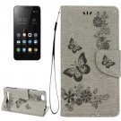 For Lenovo A2020 Grey Butterflies Leather Case with Holder, Card Slots & Wallet