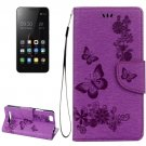 For Lenovo A2020 Purple Butterflies Leather Case with Holder, Card Slots & Wallet