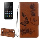 For Lenovo A2020 Brown Butterflies Leather Case with Holder, Card Slots & Wallet