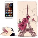 For Vibe K5 Rose Pattern Leather Case with Holder, Card Slots & Wallet