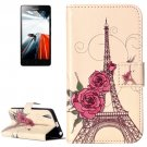 For Lenovo A6000 Rose Pattern Leather Case with Holder, Card Slots & Wallet