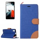 For Lenovo A6000 Dark Blue Denim Texture Leather Case with Holder & Card Slots