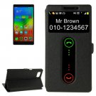 For Vibe Z2 Pro Black Cross Leather Case with Caller ID Display & Holder