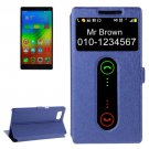 For Vibe Z2 Pro Dark Blue Cross Leather Case with Caller ID Display & Holder