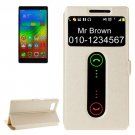 For Vibe Z2 Pro Gold Cross Leather Case with Caller ID Display & Holder