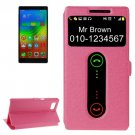 For Vibe Z2 Pro Magenta Cross Leather Case with Caller ID Display & Holder