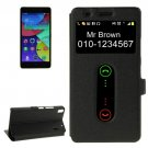 For Lenovo K3 Note Black Flip Leather Case with Caller ID Display & Holder