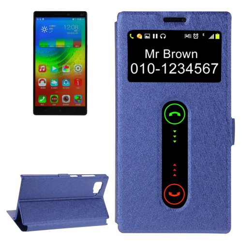 For Lenovo Vibe Z2 Dark Blue Flip Leather Case with Caller ID Display & Holder
