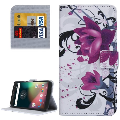 For Moto G 4 Gen Lotus Pattern  Leather Case with Holder, Card Slots & Wallet