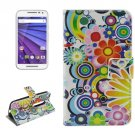 For Moto G 3 Gen Flowers Pattern Leather Case with Holder, Card Slots & Wallet