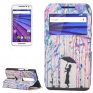 For Moto G 3 Gen Umbrella Pattern Leater Case with Holder & Caller ID Display