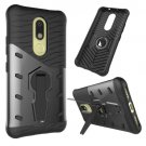 For Moto M Black Hybrid Case TPU + PC Rotating Case with Holder