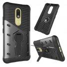 For Moto M Black Hybrid Case TPU + PC Rotating Case with Holder
