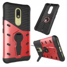 For Moto M Red Hybrid Case TPU + PC Rotating Case with Holder