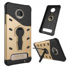 For Moto Z Play Gold Spin Tough Armor TPU + PC Rotating Case with Holder